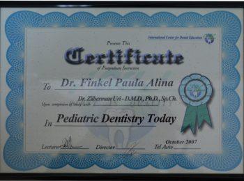 Certificate Dr Paula Finkel Medic Stomatolog Radauti 2