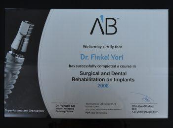 Certificate Dr Yori Finkel Medic Stomatolog Radauti 1
