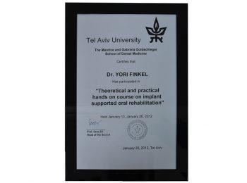 Certificate Dr Yori Finkel Medic Stomatolog Radauti 2
